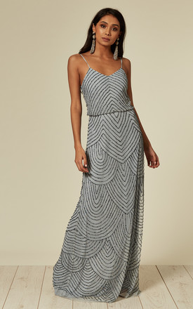 Cami Sequin Stripe Embellished Maxi Dress In Heather Blue by ANGELEYE Product photo