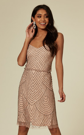 Nude Striped Embellished Mini Dress by ANGELEYE Product photo
