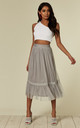 Grey Sheer Layered Midi Skirt by ANGELEYE