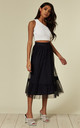 Navy Sheer Layered Midi Skirt by ANGELEYE