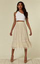 Cream Sheer Layered Midi Skirt by ANGELEYE