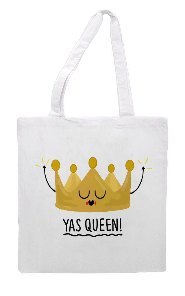 Canvas Tote Bag with Yas Queen Print by Art Wow