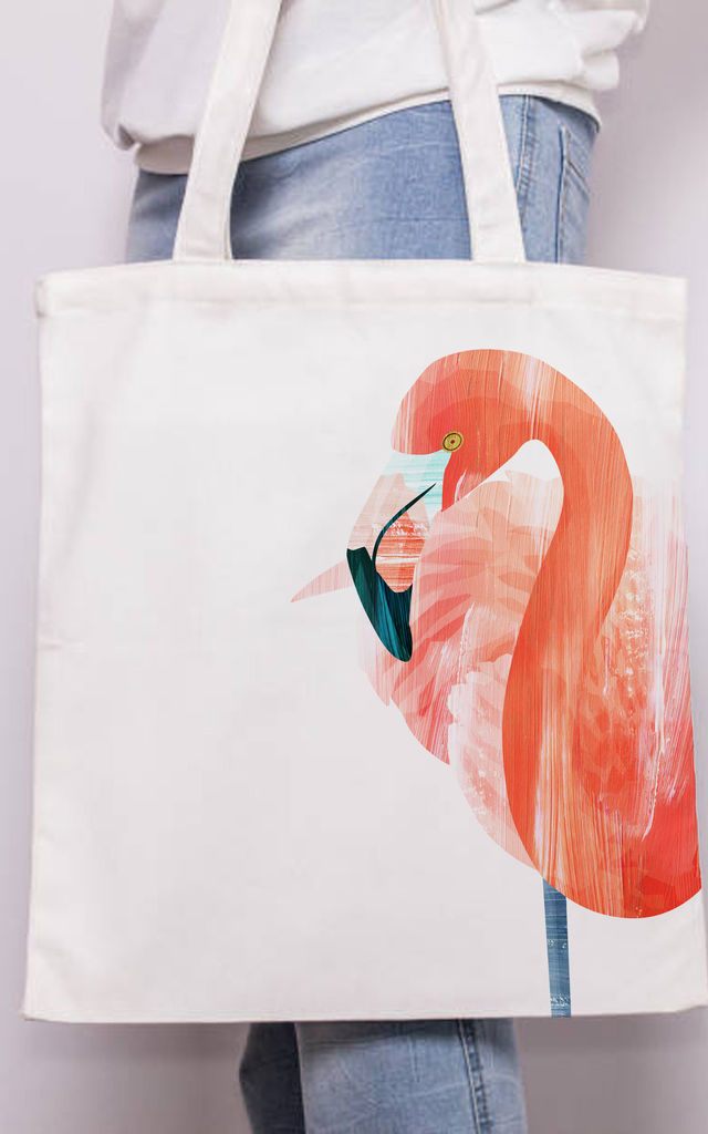 Canvas Tote Bag with Print Flamingo by Art Wow