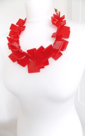 Chunky Bright Red Acrylic Abstract Statement Necklace by Olivia Divine Jewellery Product photo