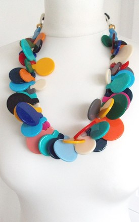 Chunky Multi-Coloured Acrylic Abstract Statement Necklace by Olivia Divine Jewellery