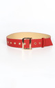 Red Waist Belt With Gold Buckle by Dressed In Lucy
