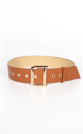 Tan Waist Belt With Gold Buckle by Dressed In Lucy