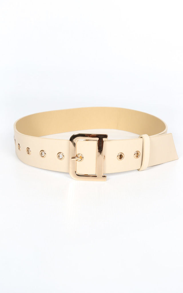 Cream Waist Belt With Gold Buckle by Dressed In Lucy
