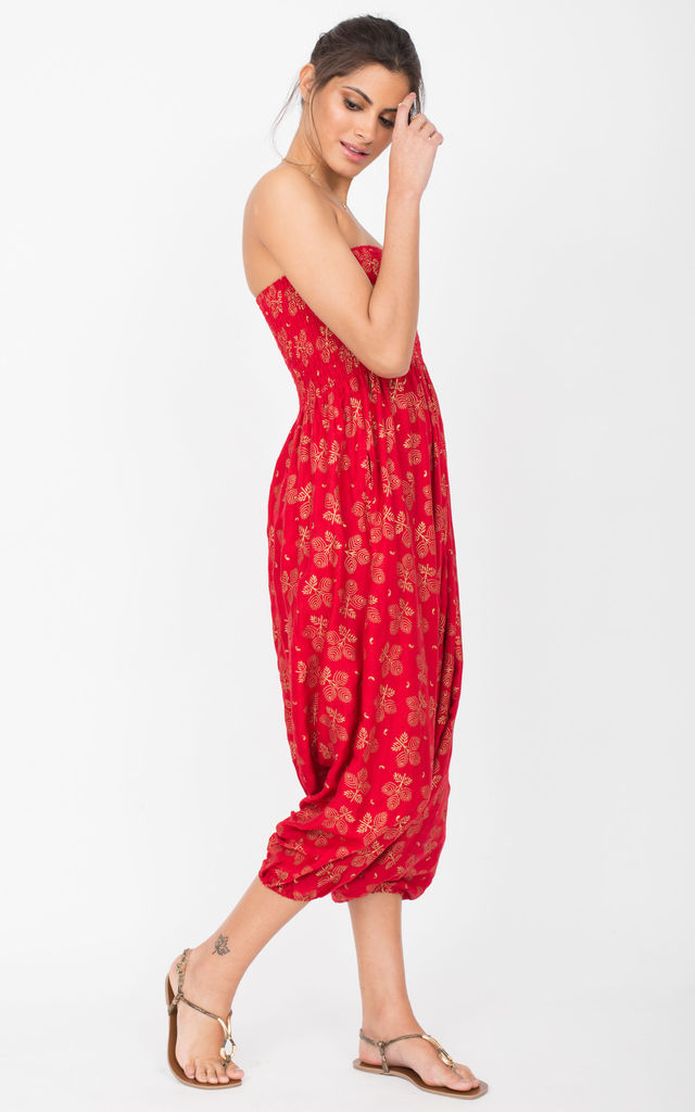 Harem Jumpsuit And Hareem Pants 2 In 1 Red & Gold by likemary