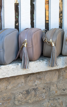 Grey Box Leather Cross Body Bag with Tassel by Grace and Valour