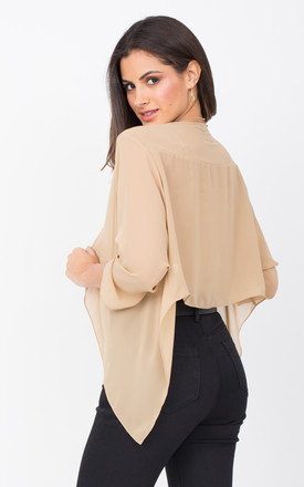 Sheer Chiffon Shrug Bolero Jacket Beige by likemary
