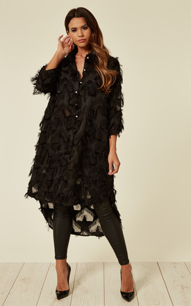 Black Oversized Shirt Dress With Feather Tassel Look Embroidery by CY Boutique Product photo