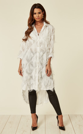 White Oversized Shirt Dress With Feather Tassel Look Embroidery by CY Boutique Product photo