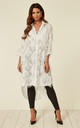 Oversized White Shirt Dress with Feather Tassel Look Embroidery by CY Boutique