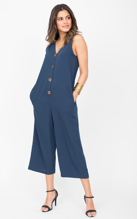 Sleeveless Cropped Jumpsuit with Relaxed Fit in Blue by likemary