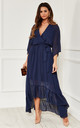 Navy Plunge Maxi Dress by Bella and Blue