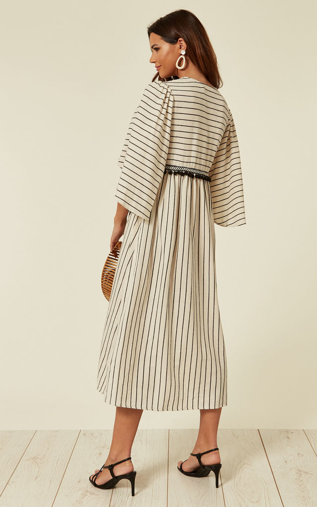 And Exhale Pom Pom Batwing Midi Dress in White by Traffic People