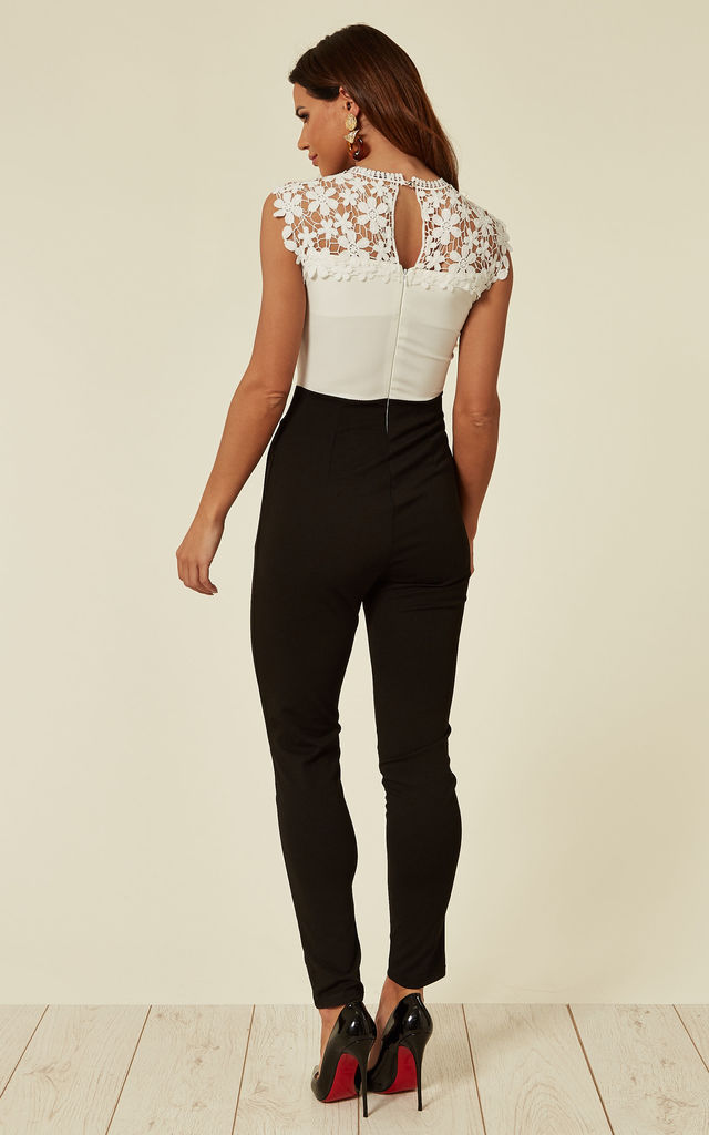 Black and White Lace Panel Neck Jumpsuit by WalG