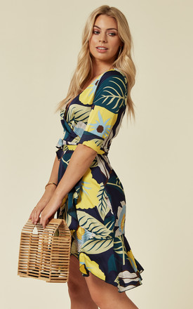 Mini Wrap Dress in Navy Floral Print by ROCK KANDY