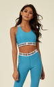 Turquoise Marl Fit Sports Bra With Cross Over Back And Elasticated Branded Waistband by Off The Railz