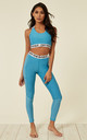 Turquoise Marl Fit Mesh Leggings With Elasticated Branded Waistband by Off The Railz