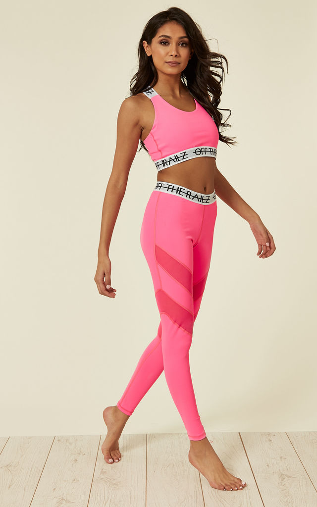 Fluorescent Pink Fit Sports Bra With Cross Over Back And Elasticated Branded Waistband by Off The Railz