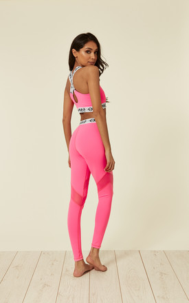 Fluorescent Pink Mesh Leggings With Elasticated Branded Waistband by Off The Railz