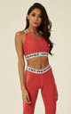 Red Two Tone Marl Fit Sports Bra With Cross Over Back And Elasticated Branded Waistband by Off The Railz