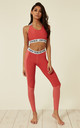 Red Two Tone Marl Fit Mesh Leggings With Elasticated Branded Waistband by Off The Railz