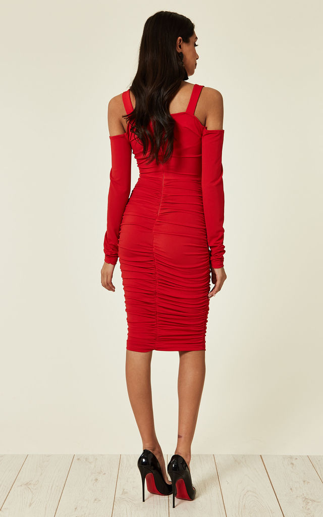 602397076c74 Red Slinky Ruched Cold Shoulder Dress | AX Paris | SilkFred