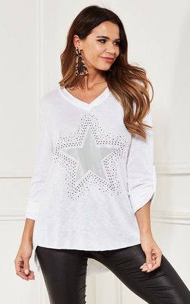 V Neck Star Top in White by Bella and Blue