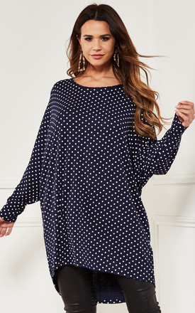 Oversized Batwing Top In Navy Polka Dot by Bella and Blue Product photo