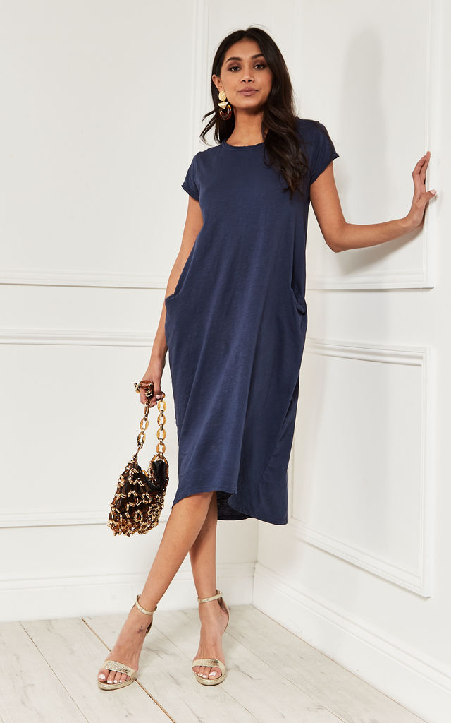 Midi Two Pocket Dress in Navy by Bella and Blue