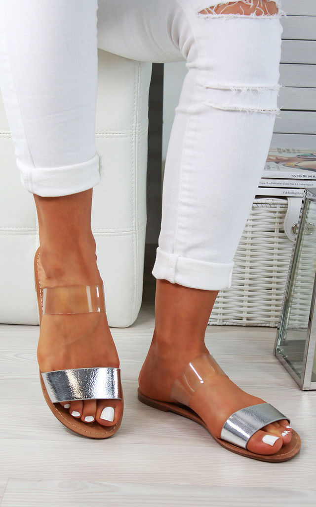 Silver Transparent Strap Flat Sandals by Larena Fashion