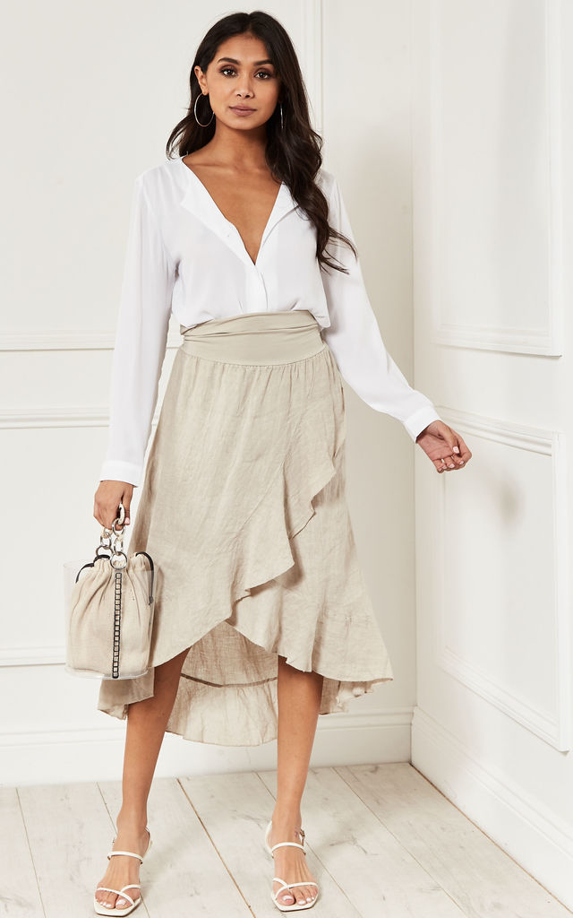 Wrap Front Frilled hem Skirt in natural Beige by Lilah Rose