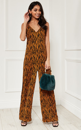 Relaxed Fit Strappy Jumpsuit In Orange Zebra Print by Bella and Blue Product photo