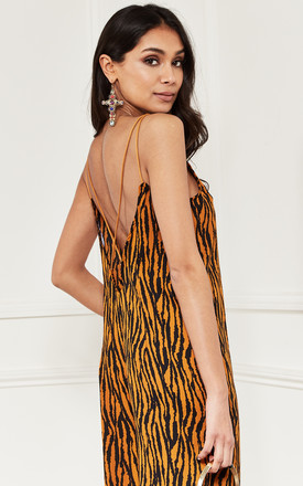 Relaxed fit strappy jumpsuit in Orange Zebra Print by Bella and Blue