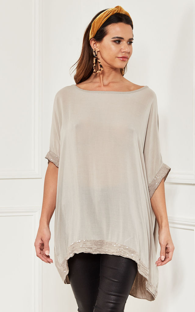 Oversized sequin hem top in natural beige by Lilah Rose