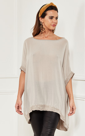 Oversized Sequin Hem Top In Natural Beige by Bella and Blue Product photo