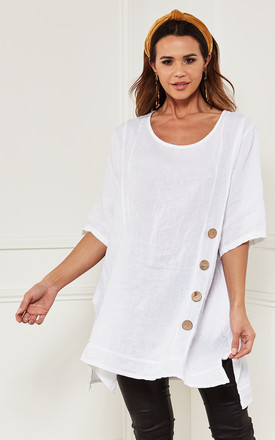 Oversized Linen Top With Button Detail In White by Bella and Blue Product photo