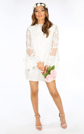 Mesh Amp Lace Shift Dress In White Dressed In Lucy Silkfred