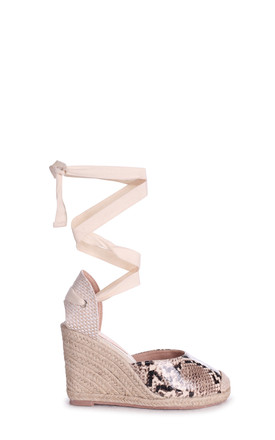 Snake Meghan Print Canvas Closed Toe Espadrille Wedge With Tie Up Straps by Linzi