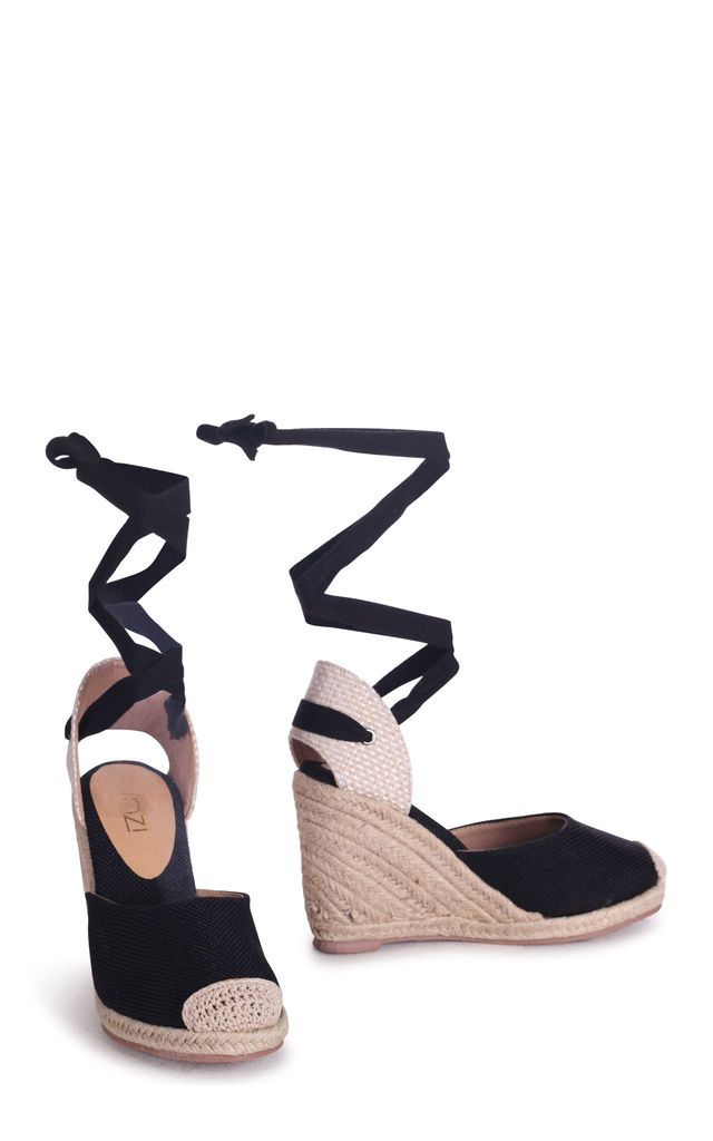 Meghan Black Canvas Closed Toe Espadrille Wedge With Tie Up Straps by Linzi