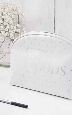 Polka Dot White Make-up Bag by A Gift From The Gods