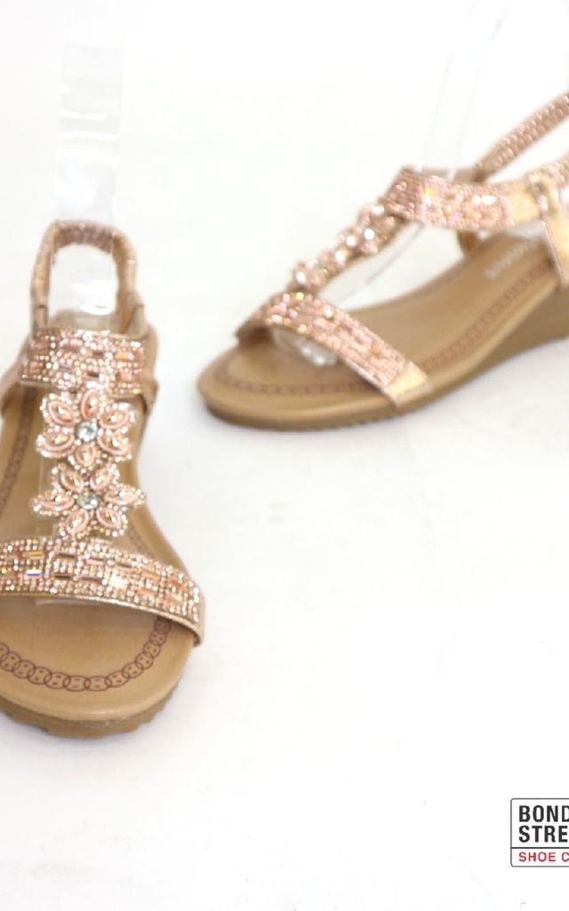 c2a01e283abf Champagne Jewelled   sequin   diamante Flower Flat Sandals by Bond Street  Shoe Company
