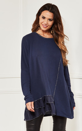 Oversized Top With Frill Detail In Navy by Bella and Blue Product photo