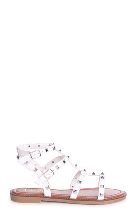 Billie White Studded Gladiator Sandals With Embellished Sole by Linzi