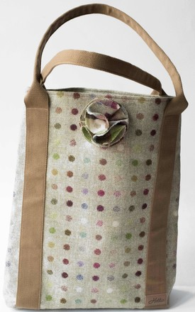 Hettie Tote bag in Lime and Multicolour Polka Dots by Hettie
