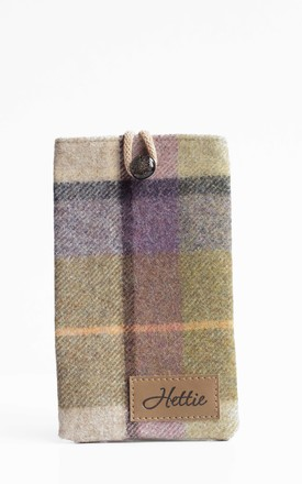 Wool Phone Case in Gargrave Lilac Check Print by Hettie