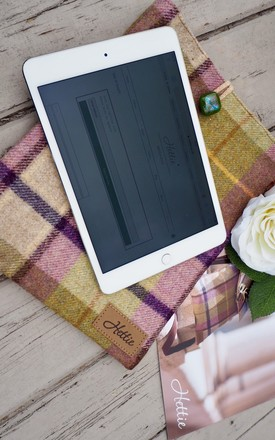 Wool iPad Case in Gargrave Lilac Check Print by Hettie